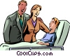 Parents at the bed side of sick son Vector Clipart graphic
