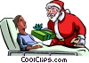Santa delivering a gift to a man in the hospital Vector Clip Art graphic
