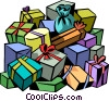 Vector Clipart image  of a Pile of presents