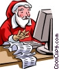 Santa working on his computer Vector Clipart picture