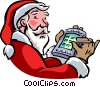 Vector Clipart graphic  of a Santa using his PDA