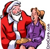 Santa talking with a young woman Vector Clipart illustration