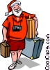 Vector Clip Art image  of a Santa going on vacation