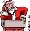 Santa talking on phone going down chimney Vector Clip Art picture