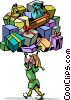 Vector Clip Art graphic  of an an elf with a ton a presents