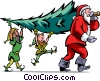 Santa and his elves carrying a Christmas tree Vector Clipart picture