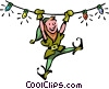 Vector Clipart graphic  of an an elf swinging from Christmas