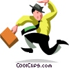 businessman running late Vector Clip Art graphic