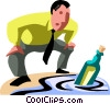 Vector Clipart image  of a businessman finding a message
