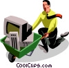 Vector Clip Art image  of a businessman wheeling in his