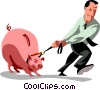 businessman dragging his piggy bank Vector Clip Art picture