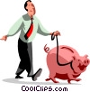 Vector Clip Art graphic  of a businessman walking his piggy