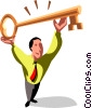 businessman with a key Vector Clip Art picture