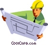 Architect reviewing blue prints Vector Clipart illustration