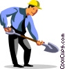 Vector Clipart graphic  of a businessman with a shovel