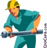construction worker with a pipe Vector Clipart illustration