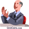Vector Clipart image  of a businessman applauding