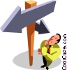 businessman deciding which way to go Vector Clipart picture