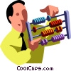 businessman with an abacus Vector Clip Art image