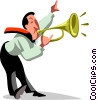 Vector Clipart picture  of a businessman trumpeting