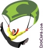 man parachuting with a dollar bill Vector Clipart graphic
