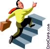 businessman running up stairs Vector Clipart picture