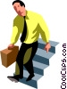 businessman going down stairs Vector Clipart illustration