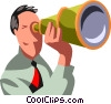 businessman looking through a telescope Vector Clipart image