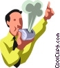 Vector Clipart illustration  of a businessman blowing a whistle