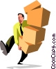 Vector Clip Art picture  of a businessman carrying boxes