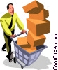 businessman with cart full of boxes Vector Clip Art graphic