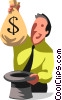 Vector Clipart illustration  of a man pulling a money bag out of