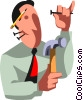 Vector Clip Art image  of a businessman with hammer and