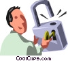 Vector Clip Art graphic  of a businessman and a lock