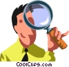 Vector Clipart illustration  of a man looking through a