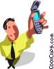 businessman and his cell phone Vector Clipart picture