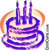 Birthday cake with candles Vector Clipart illustration