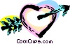 Cupid's arrow through a heart Vector Clip Art image