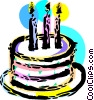 Birthday cake with candles Vector Clip Art graphic