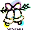 Vector Clipart graphic  of a Christmas bells tied with a