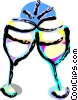 Vector Clipart graphic  of a Wine glasses toasting