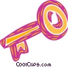 Vector Clip Art graphic  of a Colorful skeleton key