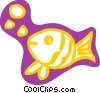Vector Clip Art image  of a Fish swimming