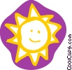 Vector Clip Art image  of a The sun with happy face