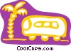 Vector Clipart graphic  of a Tour bus and palm tree