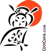 Geisha girl with hand fan Vector Clip Art graphic