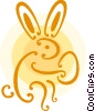 Vector Clip Art image  of a Easter bunny with an Easter