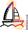 Sailboat in the lake Vector Clipart image