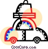 Vector Clip Art image  of a Family car on vacation