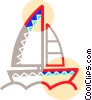 Sailboat on the lake Vector Clip Art picture